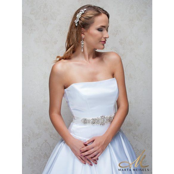 Kristályokkal díszített hófehér menyasszonyi öv ESK-CQ-B02