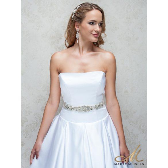 Kristályokkal díszített hófehér menyasszonyi öv ESK-CQ-B05