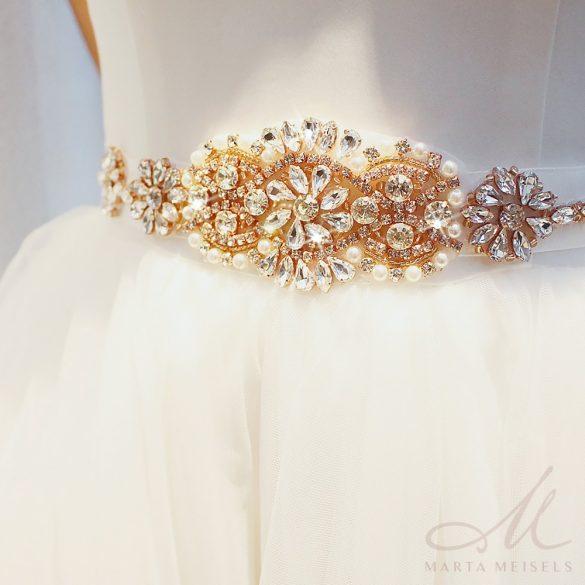 Rozé arany színű Kristályokkal díszített menyasszonyi öv ESK-CQ-B07