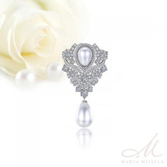 Csodaszép esküvői bross gyöngyökkel és kristályokkal díszítve ESK-TM-B2015
