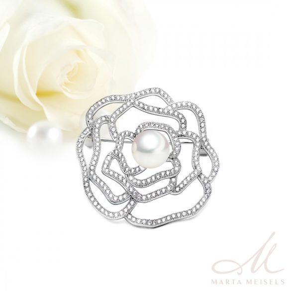Elegáns, stilizált virág formájú esküvői bross gyönggyel és kristályokkal díszítve ESK-TM-B2604