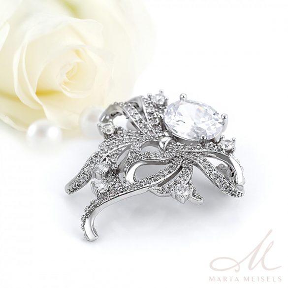 Masni formájú elegáns esküvői bross kristályokkal díszítve ESK-XP-B410