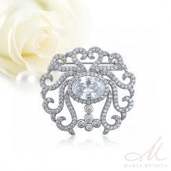 Barokk stílusú elegáns esküvői bross kristályokkal díszítve ESK-XP-B448