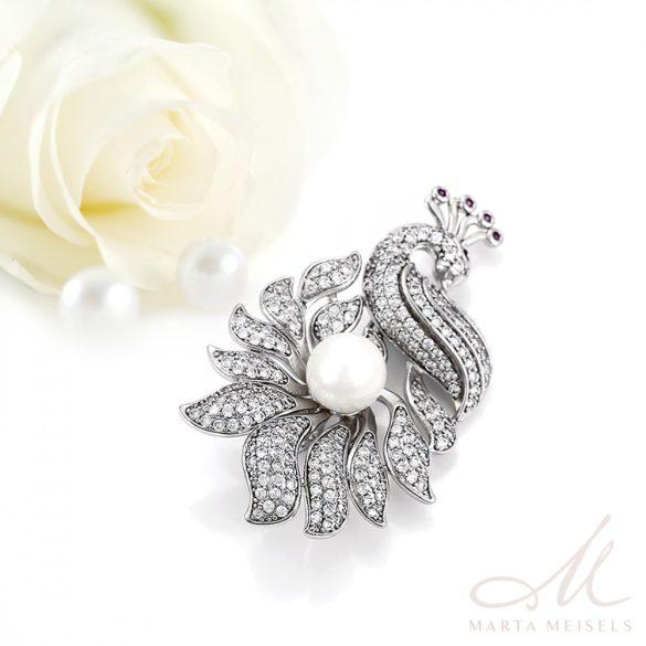 Luxus minőségű pávás esküvői bross kristályokkal díszítve ESK-XP-B693