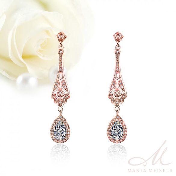 Vintage stílusú rozé arany bevonatú menyasszony fülbevaló cirkónia kristályokkal MEF-FL-B171RG