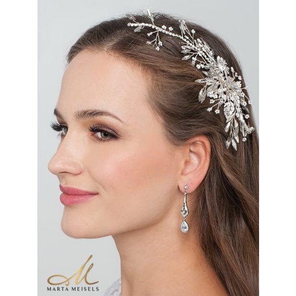 Vintage stílusú fehérarany bevonatú menyasszony fülbevaló cirkónia kristályokkal MEF-FL-B171WG