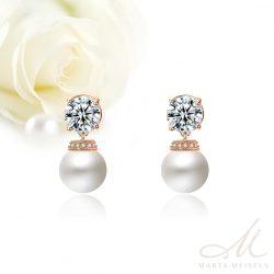 Klasszikus stílusú gyöngy és kristályos menyasszony fülbevaló rozé arannyal díszítve MEF-FL-B2004RG