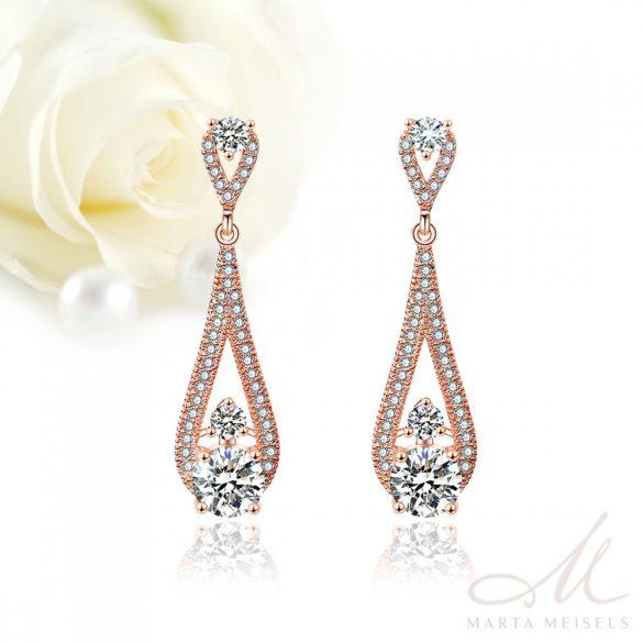 Elegáns, csepp alakú, rozé arannyal bevont menyasszony fülbevaló kristályokkal díszítve MEF-FL-B2052RG