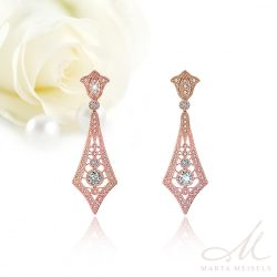 Csodaszép art deco stílusú rozé menyasszony fülbevaló kristályokkal díszítve MEF-FL-B2062RG