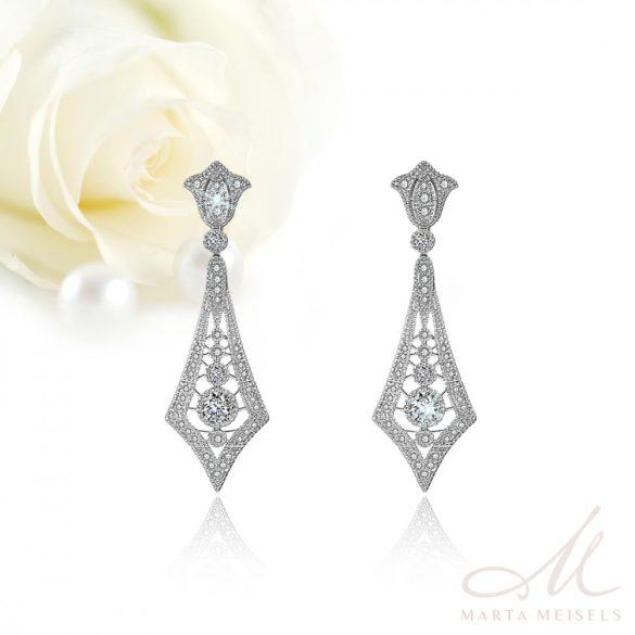 Csodaszép art deco stílusú menyasszony fülbevaló kristályokkal díszítve MEF-FL-B2062WG