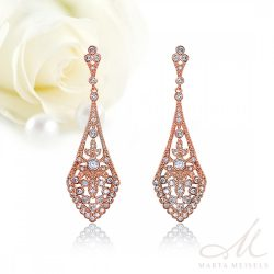 Csodaszép filigrán menyasszony fülbevaló kristályokkal díszítve rozé arannyal bevonva MEF-FL-B2066RG
