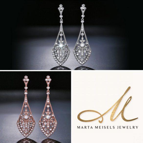 Csodaszép filigrán menyasszony fülbevaló kristályokkal díszítve MEF-FL-B2066WG