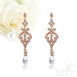 Filigrán menyasszony fülbevaló csepp alakú gyönggyel és kristályokkal, rozé arannyal díszítve MEF-FL-B215RG