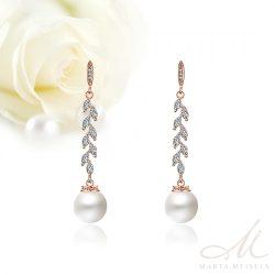 Elegáns lógós menyasszony fülbevaló gyönggyel és kristályokkal, rozé arannyal díszítve MEF-FL-B2165RG