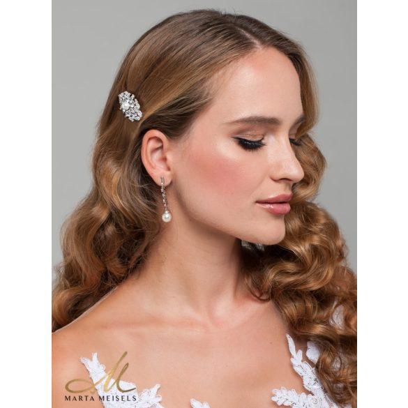 Elegáns lógós menyasszony fülbevaló gyönggyel és kristályokkal, fehérarannyal díszítve MEF-FL-B2165WG