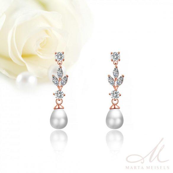 Elegáns rozé menyasszony fülbevaló csepp alakú gyönggyel és kristályokkal díszítve MEF-FL-B2179RG