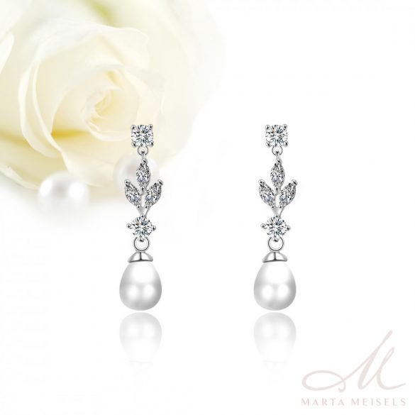 Elegáns menyasszony fülbevaló csepp alakú gyönggyel és kristályokkal díszítve MEF-FL-B2179WG