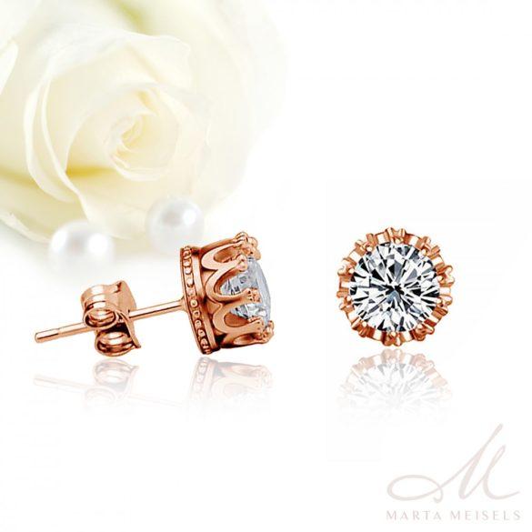 Bedugós menyasszony fülbevaló csillogó kristállyal és rozé arannyal díszítve MEF-FL-B398RG