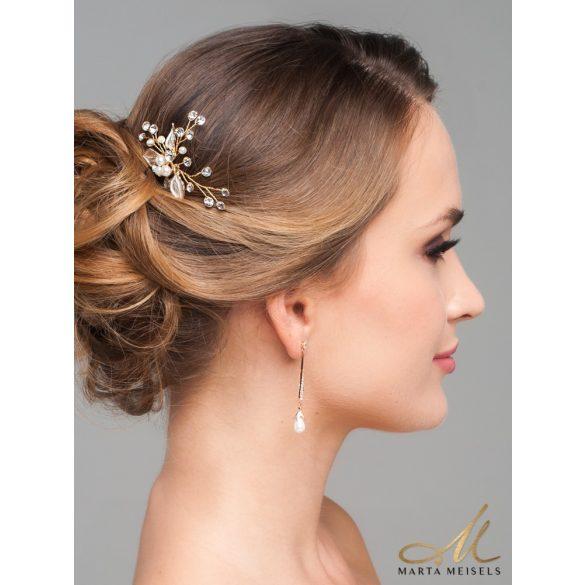 Elegáns, lógós rozé arany bevonatú menyasszony fülbevaló csepp alakú gyönggyel MEF-FL-B527RG