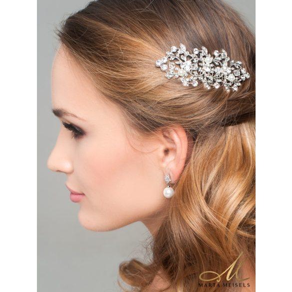 Elegáns stílusú gyöngy és kristályos menyasszony fülbevaló MEF-LK-B025