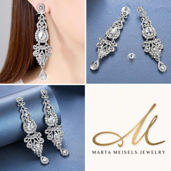 Extra hosszú fehér kristályos menyasszony fülbevaló MEF-MM-B162W