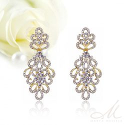 Hosszú levélmintás, kristályos menyasszony fülbevaló arannyal díszítve MEF-MM-B177YG