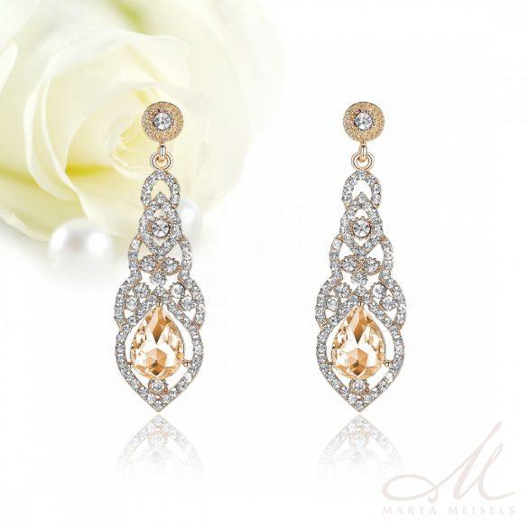 Elegáns csepp alakú aranyozott menyasszony fülbevaló pezsgő színű kristállyal MEF-MM-B444G