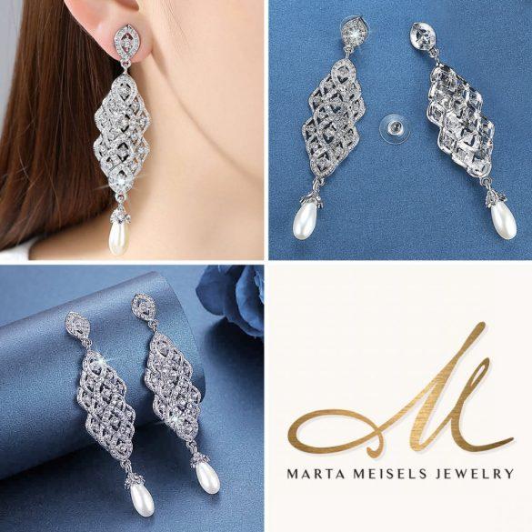Hosszú, kristályokkal és csepp alakú gyönggyel díszített menyasszony fülbevaló MEF-MM-B618