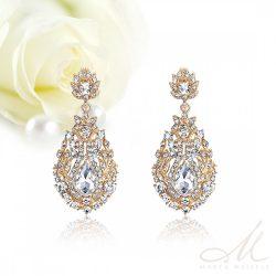 Barokk stílusú menyasszony fülbevaló kristályokkal és arannyal díszítve MEF-MM-B729RG