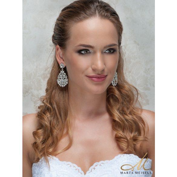 Barokk stílusú menyasszony fülbevaló kristályokkal díszítve MEF-MM-B729W