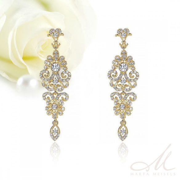 Hosszú, indamintás aranyozott  menyasszony fülbevaló kristályokkal díszítve MEF-MM-B948G