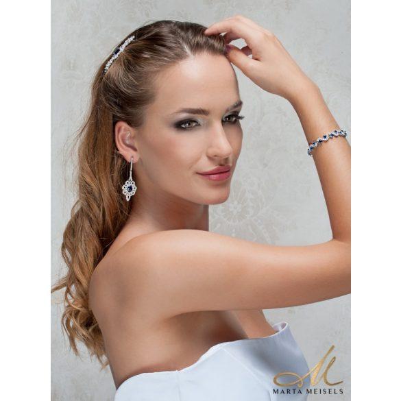 Luxus kidolgozású esküvői fülbevaló királykék és fehér kristályokkal MEF-TM-B0108B