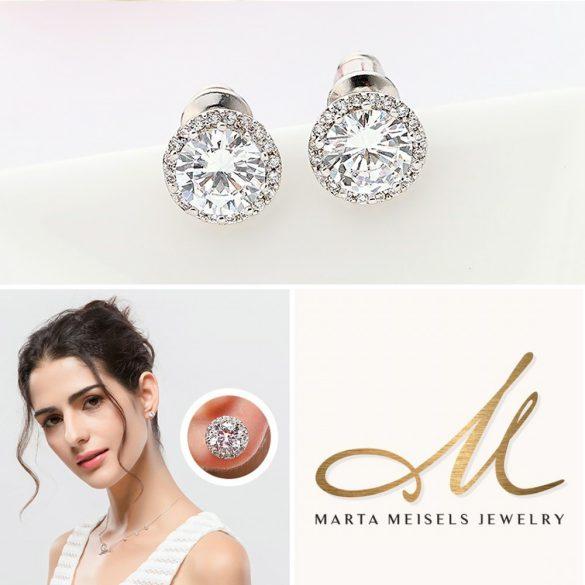 Klasszikus stílusú menyasszony fülbevaló kristályokkal díszítve MEF-TM-B0304