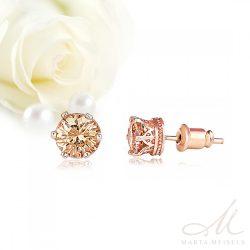 Pezsgő színű menyasszonyi, alkalmi fülbevaló rozé arany bevonattal MEF-TM-B0508R