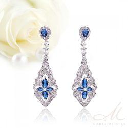 Luxus kidolgozású menyasszony fülbevaló királykék és fehér kristályokkal MEF-TM-B05B