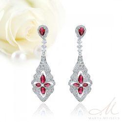 Luxus kidolgozású menyasszony fülbevaló rubinvörös és fehér kristályokkal MEF-TM-B05R