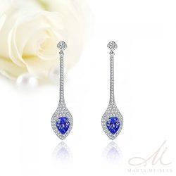 Elegáns menyasszony, koszorúslány fülbevaló kék és fehér kristályokkal MEF-TM-B0604B