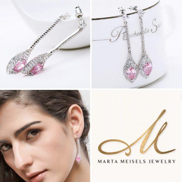 Elegáns menyasszony, koszorúslány fülbevaló rózsaszín és fehér kristályokkal MEF-TM-B0604P