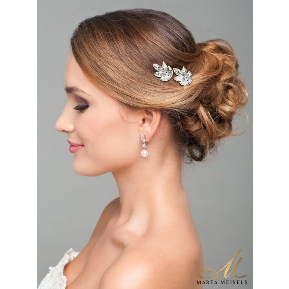 Kifinomult stílusú menyasszony fülbevaló gyönggyel és kristályokkal díszítve MEF-TM-B0720