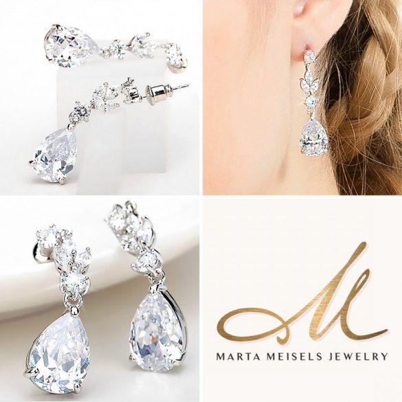 Luxus menyasszony fülbevaló csepp alakú kristályokkal díszítve MEF-TM-B222