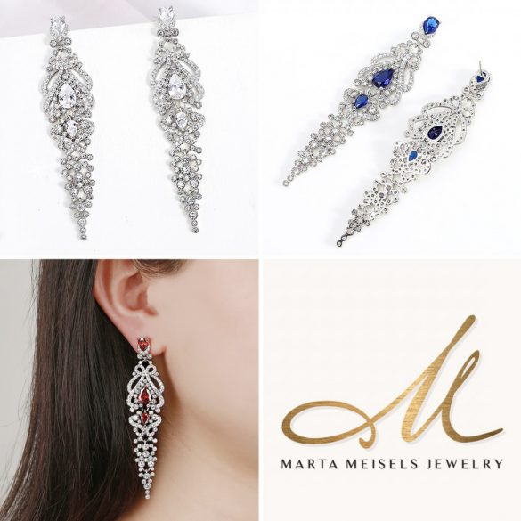 Exkluzív, ragyogó esküvői fülbevaló királykék és fehér kristályokkal MEF-XP-B521DB