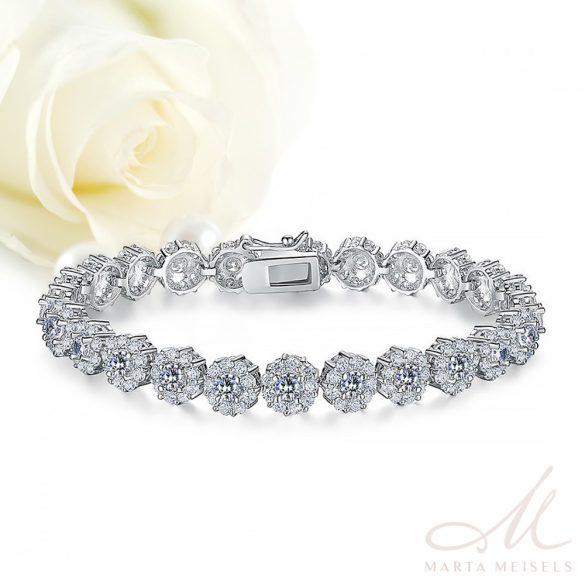 Virágdíszes luxus menyasszonyi karkötő kristályokkal kirakva MEK-BM-B012W