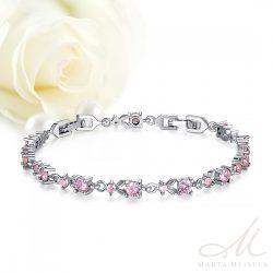 Fehérarannyal bevont menyasszonyi karkötő rózsaszín cirkónia kristályokkal díszítve MEK-BM-B026P