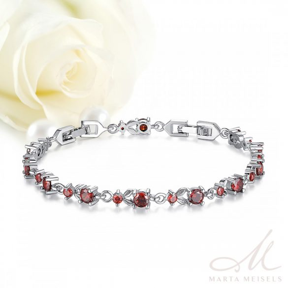 Fehérarannyal bevont menyasszonyi karkötő rubinvörös cirkónia kristályokkal díszítve MEK-BM-B026R