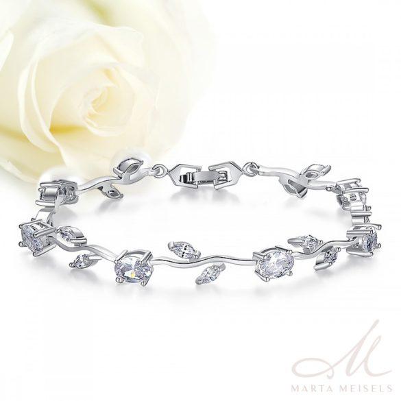 Virágdíszes menyasszonyi karkötő kristályokkal díszítve, fehérarany bevonattal MEK-BM-B071W