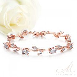 Virágdíszes menyasszonyi karkötő kristályokkal díszítve, rozé arany bevonattal MEK-BM-B073W