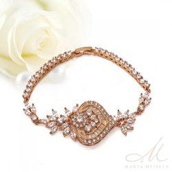 Exkluzív stílusú rozé arany bevonatos  menyasszonyi karkötő kristályokkal díszítve MEK-FL-B2040RG