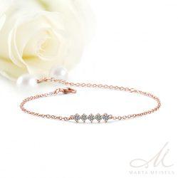Állítható méretű vékony menyasszonyi karkötő cirkónia kristályokkal és rozé arannyal díszítve MEK-FL-B2043RG