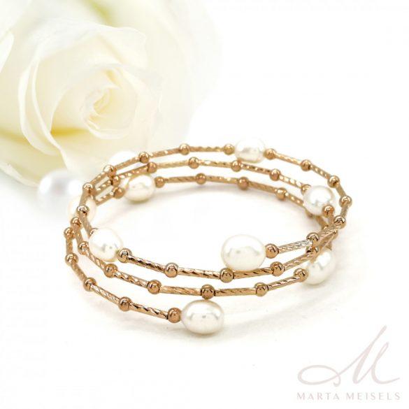 Rozé arany bevonatú édesvízi gyöngyös állítható menyasszonyi karkötő MEK-IP-B079