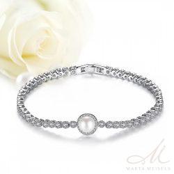 Kifinomult menyasszonyi karkötő gyönggyel és cirkónia kristályokkal  díszítve MEK-TM-B1107 9e395ba289